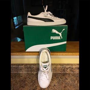 NIB Men's Puma Basket White/Black Sneakers Sz 8.5